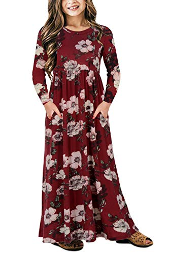 Gorlya Girl's Long Sleeve Floral Print Loose Casual Holiday Long Maxi Dress with Pockets 4-12 Years (11-12Years/Height:150cm, Red Print) -