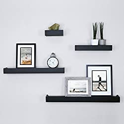 Ballucci Modern Ledge Wall Shelves, Set of 4, Black