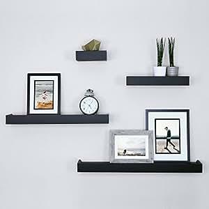 Remarkable Ballucci Modern Ledge Wall Shelves Set Of 4 Black Best Image Libraries Barepthycampuscom