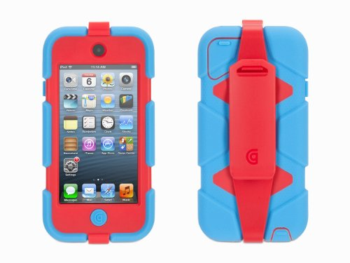 Griffin Blue/ Red Survivor All-Terrain Case + Belt Clip for iPod touch (5th/ 6th gen.) - Extreme-duty case (With Belt Case Player Mp3 Clip)