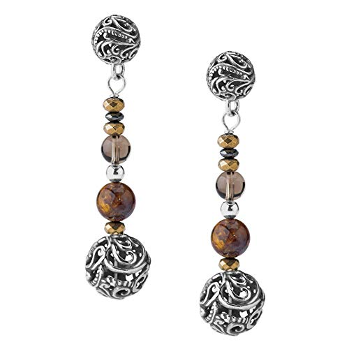Carolyn Pollack Sterling Silver Bronze Pietersite, Smokey Quartz and HematIte Bead Earrings