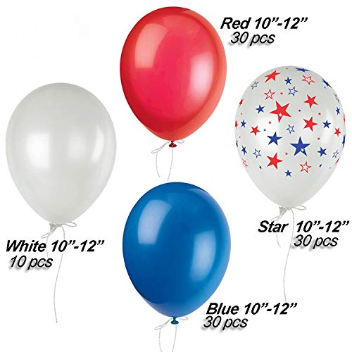 4th of July Decorations Set, Red, Blue, White & Stars Balloons, Patriotic Party Supplies |Perfect for Indoor & Outdoor Decor for Memorial Day Independence Day Theme Parties, 100 Pieces