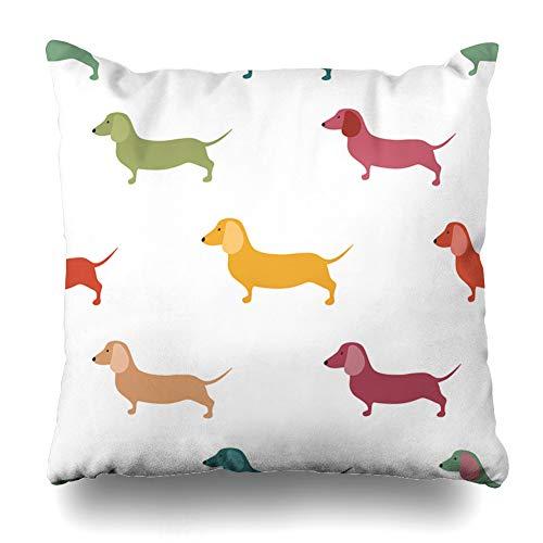 Ahawoso Throw Pillow Cover Square 20x20 Inches Pooch Dachshund Cute Dachshound Dogs Wildlife Weenie Sausage Pattern Hotdog Hot Design Hound Zippered Cushion Pillow Case Home Decor Pillowcase