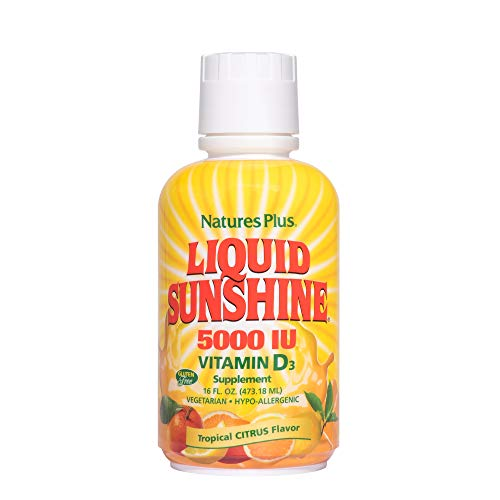 Natures Plus Liquid Sunshine Vitamin D3-5000 IU, 16 fl oz - Delicious Tropical Citrus Flavor - Bone Health, Heart Health & Immune System Support Supplement - Gluten Free - 32 Servings
