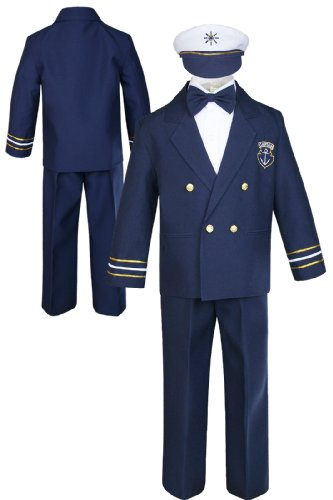 Sailor Captain Suit for Boy Outfits from New Born to 7 Years Old (7, Navy pants) ()
