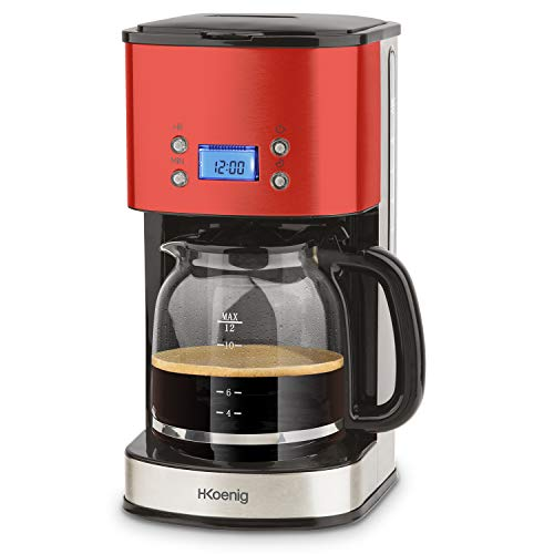 H.Koenig MG30 Cafetera de Goteo Programable, 12 Tazas, 1.5 Litro, 1000 W, Jarra de Vidrio, Gris, Acero Inoxidable