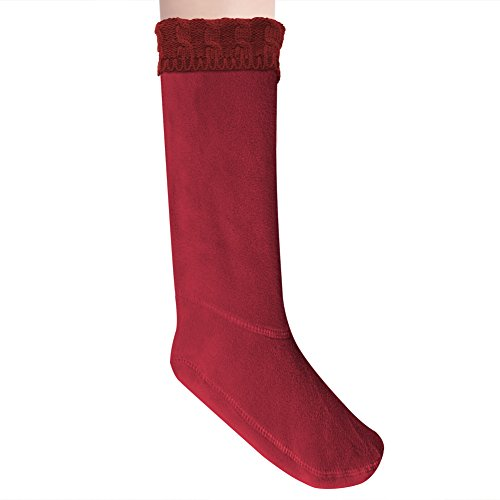 Anzermix Women's Fleece Cable Knitted Liners Rain Boot Socks (M, Red) ()