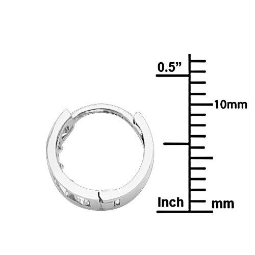 14K White Gold 2mm Thickness CZ Channel Set Hoop Huggie Earrings (10 x 10 mm)