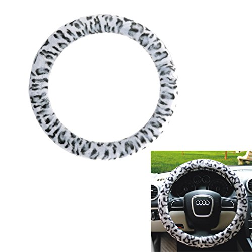 Bao Core Fashion Leopard Plush Stretch-On Vehicle Steering Wheel Cover Car Wheel Protector Decoration (Leopard Steering Wheel Cover)