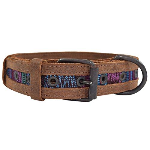 Hide & Drink Rustic Mayan Dog Collar, Tropical Blue