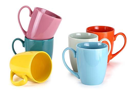 MIWARE 13 Ounce Porcelain Mugs, Set of 6, Large Handle Tea and Cocoa Mug Set,Multicolor