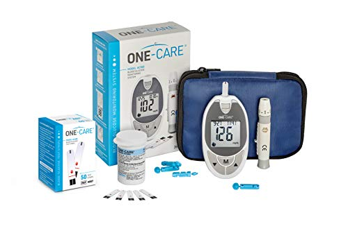 ONE – CARE Glucose Meter Kit – ONE – CARE Blood Sugar Meter, 1 Adjustable Depth Lancing Device, 60 Blood Test Strips, 30 Gauge Lancets -10 Count, Compact Carrying Case