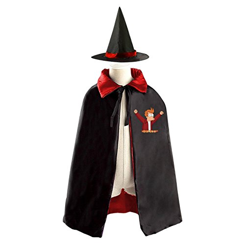 Halloween Futurama Wizard Witch Kids Childrens' Cape With Hat Party Costume Cloak Red
