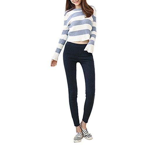 Zhhlaixing Ventas calientes Fashion Thickening Velvet Pants Elastic Pocket Crop Jeans Simple Style Leggings Plus for Women Blue