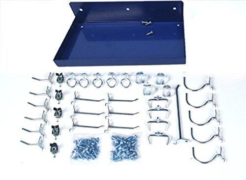 Triton Products 76126-36 DuraHook 12 Inch W x 6 Inch Deep Blue Epoxy Coated Locking Steel Pegboard Shelf with 36 Piece DuraHook Locking Pegboard Hook Assortment by Triton 2