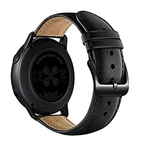 Soft Leather Straps Compatible for Samsung Galaxy Watch Active Watchband Wristband Unisex Adult (Black)