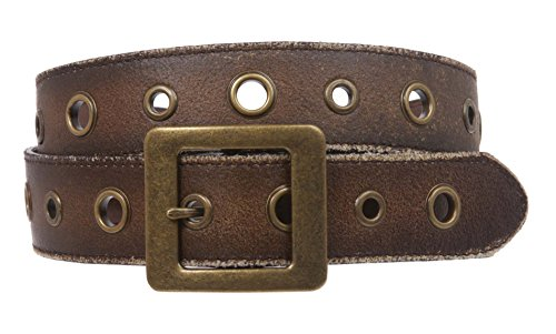 Square Buckle Grommets Vintage Distressed Leather Jean Belt, Brown | L 36-38