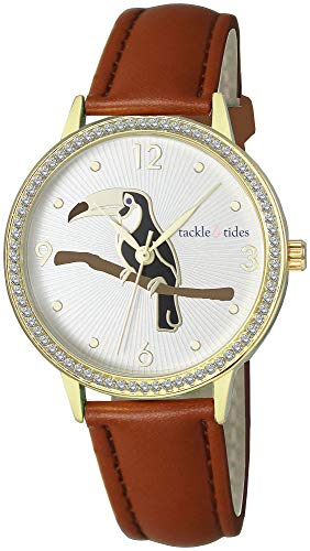 Tackle & Tides Womens Toucan Brown Strap Watch Brown/Gold Tone