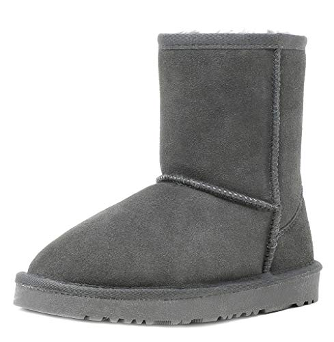 Ultra Sheepskin Boots - DREAM PAIRS Toddler Shorty-K Grey Sheepskin Fur Winter Snow Boots Size 10 M US Toddler