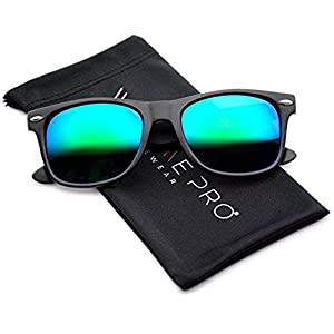 Polarized Flat Mirrored Reflective Color Lens Large Horn Rimmed Style Sunglasses (Mirrored Green)
