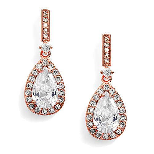 Mariell Rose Gold Zirconia Crystal Wedding Drop Earrings for Women, Jewelry for Bride, Prom, Bridesmaids