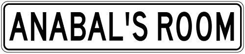ANABAL'S ROOM - Kids Custom Personalized Aluminum Girls Room Sign - 6 x 24 Inches
