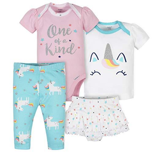 Gerber Baby Girls' 4-Piece Shirt, Bodysuit, Pant