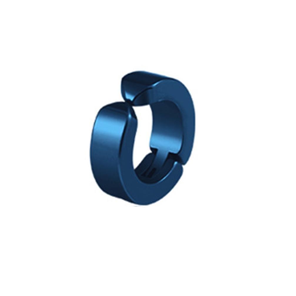 FimKaul Hot Stainless Steel Ear Clip Earring Hoop Non-Piercing For Women Men (Blue)