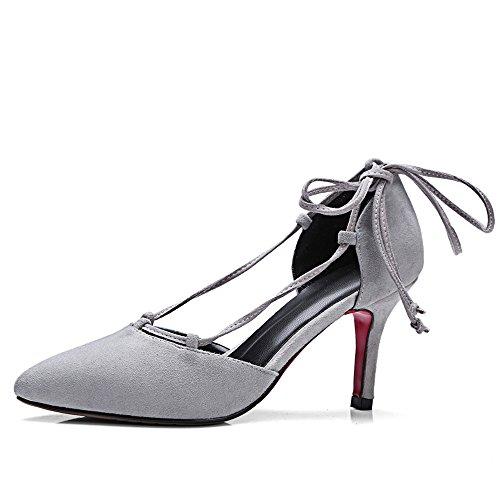 Nine Seven Cuero Moda Puntiagudos Tacones de Aguja con Correa de Tobillo de Vestir para Mujer gris