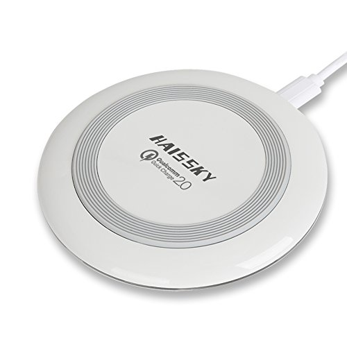 Fast Wireless Chargers, HAISSKY Fast Charge for Samsung Galaxy S9 Note 8/5 S8 S7, Ultra-Thin Qi Wireless Charging Pad Stand for iPhone 8/8 Plus and All Qi-Enabled Devices