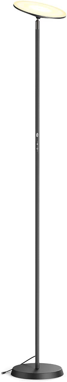 TaoTronics LED Floor Lamp 30W Torchiere Tall Standing Lamp Modern Pole Light 2400lm with 3 Color Modes & 3 Brightness Levels Dimmable Daylight for Living Bedroom, Black