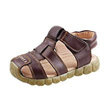 QHamThim Boys Girls Leather Closed Toe Outdoor Sports Sandals Fisherman Shoes(Toddler/Little Kid)