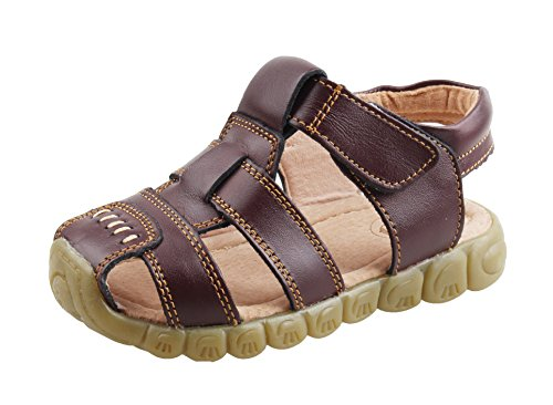 Brown Leather Sport Sandals (QHamThim Boys Girls Leather Closed Toe Outdoor Sports Sandals Fisherman Shoes(Toddler/Little Kid) US Size 10 Brown)