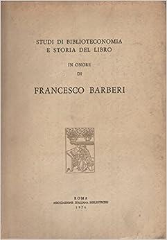 Book Studi di biblioteconomia e storia del libro in onore di Francesco Barberi