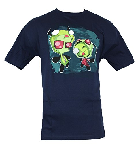 Invader Zim Mens T-Shirt - Gir in Zim Costume and Zim as Gir Costume Image (XXX-Large) Dark Navy (Invader Zim And Gir Costumes)