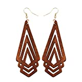 KISSFRIDAY Natural Wooden Earrings Geometric Hollow Triangle Personality Simple Fashion Jewelry