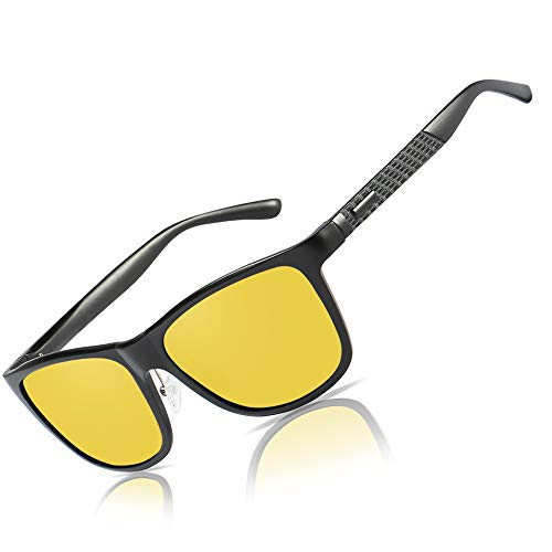 Bircen HD Night Vision Driving Anti-Glare Glasses for Men Women Al-Mg Metal Frame Rainy Safe Polarized Fashion Sun glasses (Black frame Nightlens)