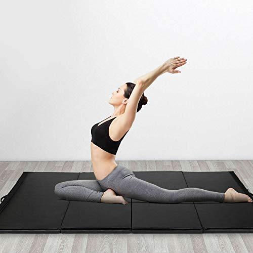 Stark Item Black 4'x10'x2 Gymnastics Mat Thick Folding Panel Gym Fitness Exercise Mat