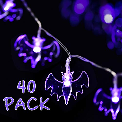 Solpex Halloween String Lights, 15ft 40 Purple Bats Lights Halloween Decoration Lights with 2 Modes, Battery -