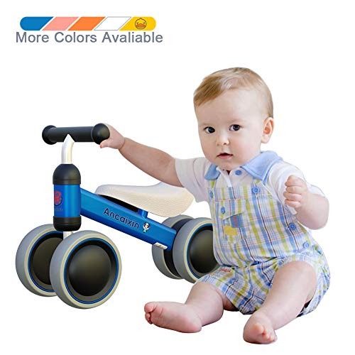 Ancaixin Baby Balance Bikes Bicycle Children Walker 10 Month - 24 Month Toys for 1 Year Old No Pedal Infant 4 Wheels Toddler Best First Birthday New Year Gift Blue