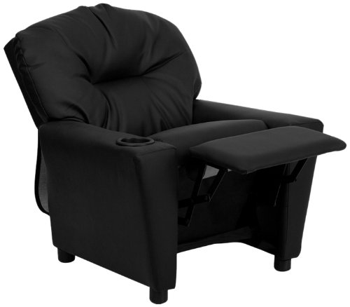 Flash Furniture Contemporary Black Leather Kids Recliner with Cup Holder -
