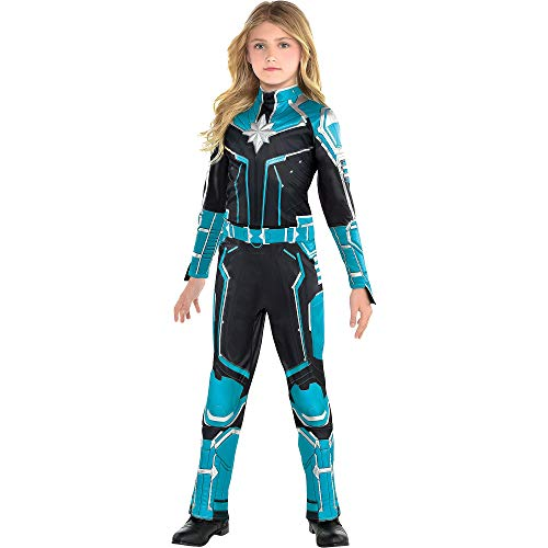 Costumes USA Captain Marvel Starforce Halloween Costume for Girls, Superhero Jumpsuit, Medium, Dress Size 8-10 -