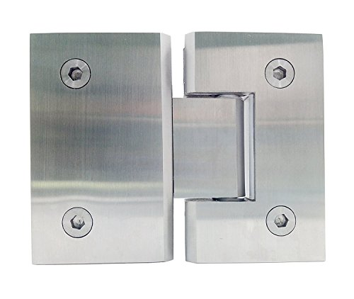 Ranbo Heavy Duty 180 Degree Glass Door Cupboard Showcase Cabinet Clamp Frameless Pivot Glass Shower Doors Hinge Replacement Parts Wall-to-Glass,304 Stainless Steel Polished Chrome (Single Pack)
