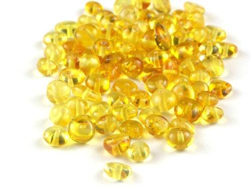 Lemon Baltic Amber Beads, Polished Baroque 6-8 mm, 10 grams -