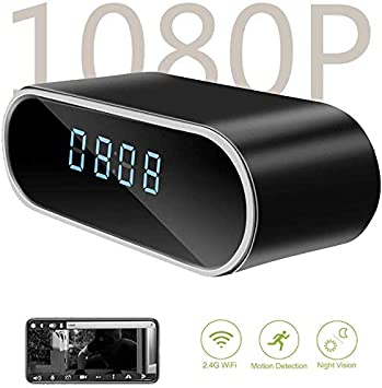 HD 1080P Wifi Spy Camera Motion Security Alarm Clock IR Cam Hidden Nanny Camera
