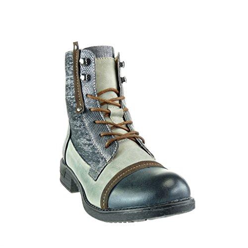Angkorly - damen Schuhe Stiefeletten - Reitstiefel - Kavalier - bi-Material - Schlangenhaut - Knoten - camouflage Blockabsatz 3 CM Grau