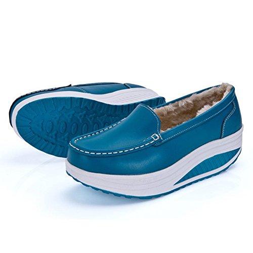 Damen Leder Warm Gefütterte Winter Plateau Loafers Warm Gefütterte Sportliche Freizeitschuhe Blau