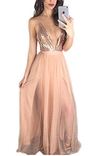 Profundo escote en v lentejuelas Maxi baile vestido de fiesta vestido de Cóctel de las mujeres