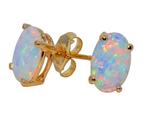 14Kt Yellow Gold Simulated Opal Oval Stud Earrings ()