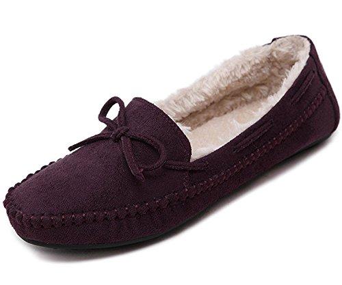 Minetom Mujer Otoño Calentar Plano Zapatos Suave Peluche Forro Mocasines Shoes Zapatos Del Barco Con Bowknot Vino Rojo